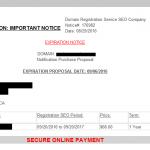 Scam domain expiration notices